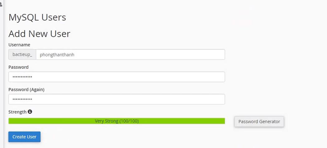 Tạo user và pass mới để chút nữa kết nối với CSDL đã tạo bên trên.